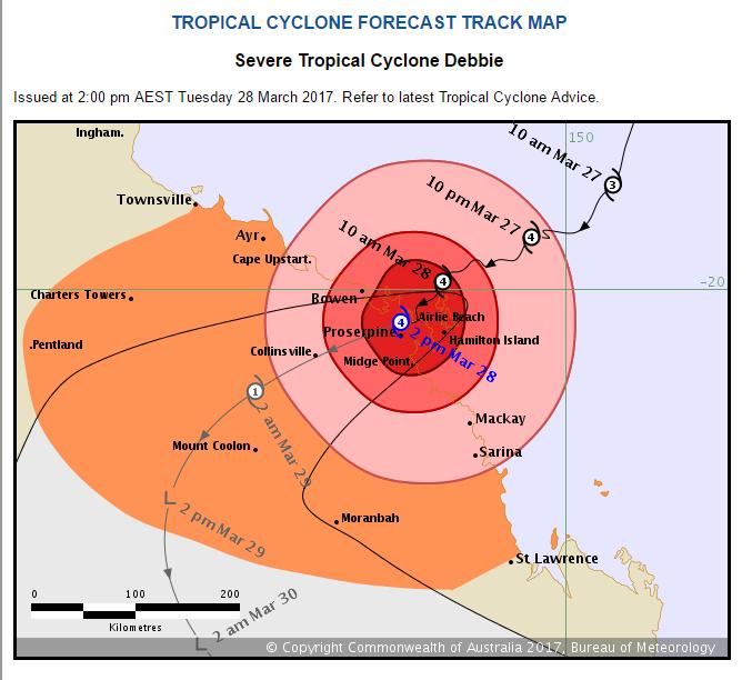 Cyclone Debbie Track Map BOM