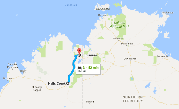 Halls Creek to Kununurra Map
