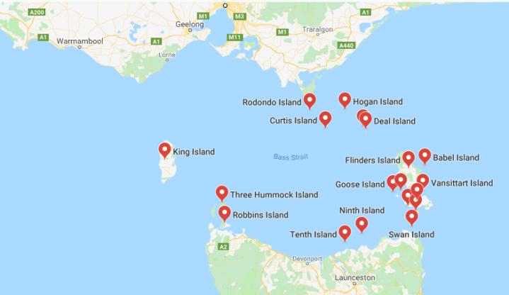 Bass Strait Islands Map