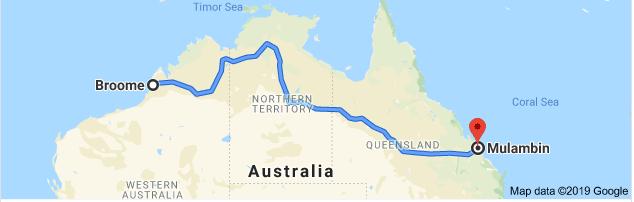 Broome to Mulambin Map